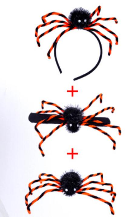 New Halloween Horrible Big Black Furry Fake Spider Size 21cm Hand Strap Brooch hair band Treat Halloween Decoration Supplies