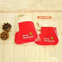 100pcs 12 20cm Christmas Socks Print OPP Plastic Christmas Gift Bag Birthday Party Wedding Cookie Candy