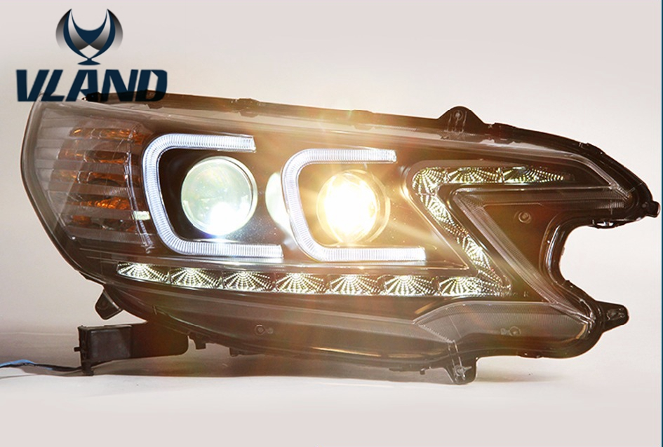 Free shipping vland factory car styling For Honda CRV headlights DRL 2012-2014 LED light bar projector lens h7 xenon