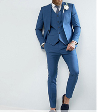 Blue Slim Fit Men Suits for Prom Smoking Man Costumes Notched Lapel Wedding Groom Tuxedos 3 Piece Man Set Jacket Vest with Pants