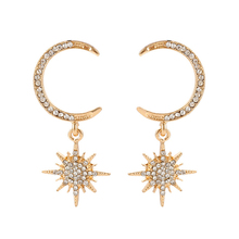 Shiny Crystal Star Moon Earrings for Women Korean Earring 2019 Fashion Jewelry Brincos Pendant Cute Christmas Gift Hot Sale