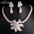 High Quality Austrian Crystal Rhinestone Rhodium Women Wedding Gifts Wholesale Pink Flower Imitation Pearl Bridal Jewelry Sets