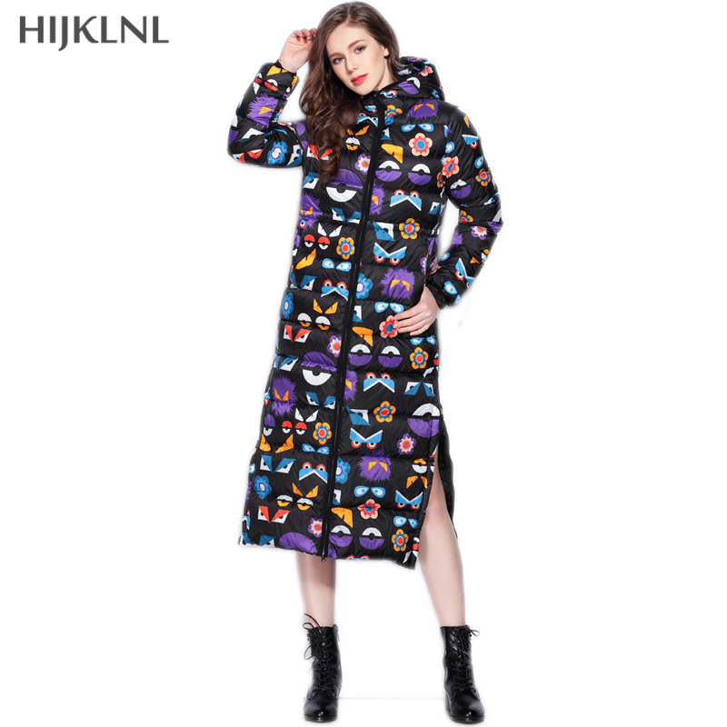 HIJKLNL Europe Brand Style Fashion Hooded Printed Long   Down     Coat   2019 New Winter Slim Long Duck   Down   Jacket Female Pakas LH1240