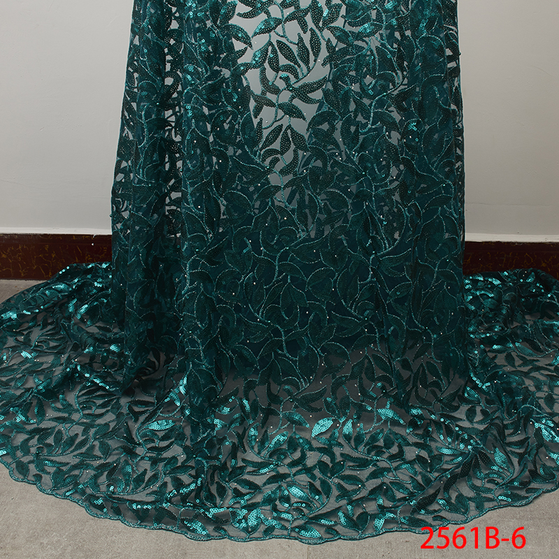Latest African Laces 2019 Green Color Sequins Tulle Lace Fabric New Nigerian Beads Tulle Lace Fabric