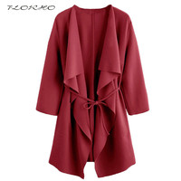 2017 Spring Autumn Solid Color Blouse Cardigan Women Elegant Loose Open Front Long Belted Cardigan Kimono