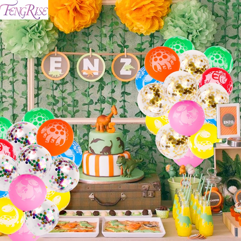 Diy Party Us 2 72 17 Off Fengrise Dinosaur Latex Balloon Jurassic World Happy Birthday Party Decorations Kids Diy Party Favors Gold Confetti Balloon In Party