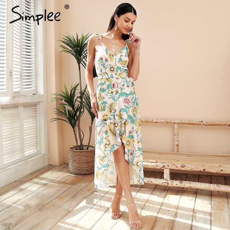 Летнее женское длинное платье Simplee, с асимметричным подолом, элегантное богемное платье с V-образным вырезом, с принтом, сарафан макси с оборками
