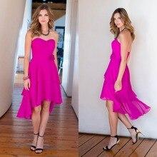 Sleeveless Prom Kleider Rushed 2015 A-line Schatz mittler-kalb Chiffon-kleid Blume Hallo-lo Abend Formale Kleid Vestido De Festa