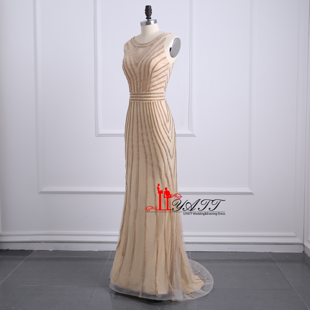 Sparking Gold Mermaid Formal Evening Dresses 2018 Roe de Soiree Beaded  Tulle Sweep Train Long Prom Dress Custom Made b39d6fb127e0
