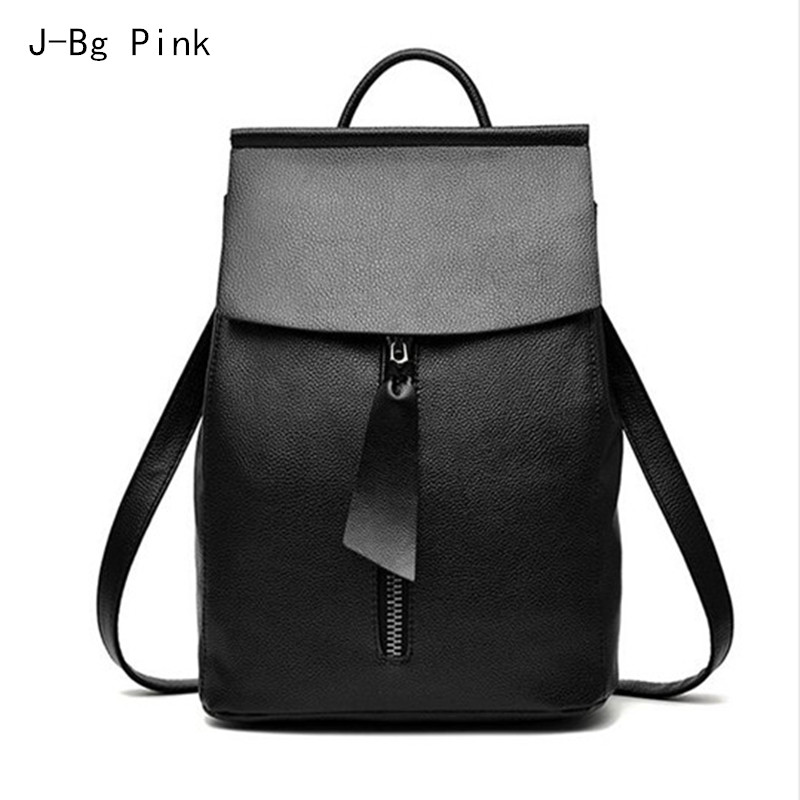 купить women leather backpack small minimalist solid black school bags for teenagers girls feminine backpack sac a dos femme по цене 1485.07 рублей