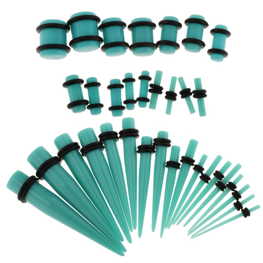 36pcs/ Set Ear Gauges Stretching Kit Acrylic 14G-00G Expander Tapper Plugs Body Piercing Jewelry