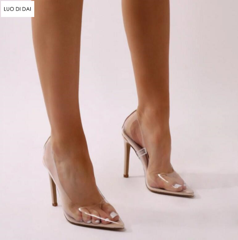 55b11fa0b58e 2019 New sexy women PVC high heels thin heel pumps party shoes PVC pumps  point toe dress shoes see through sexy wedding shoes-in Women s Pumps from  Shoes on ...