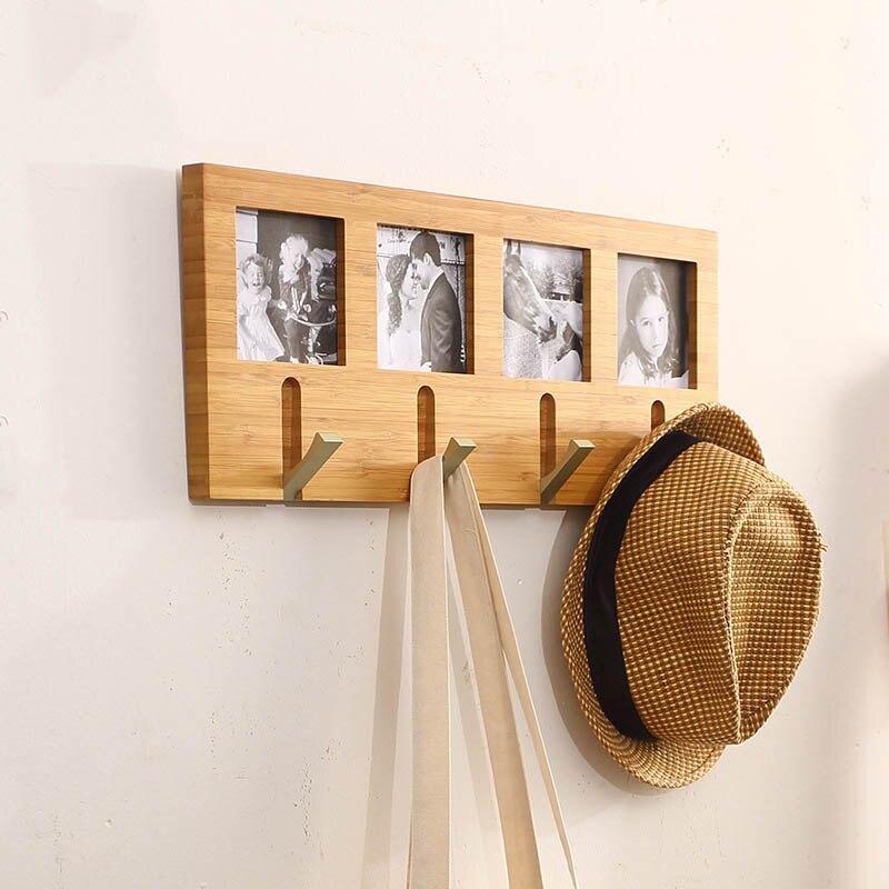 Creative nature bambou tenture murale 4 crochets avec cadre photo manteau sac vêtements chapeau crochet maison mur décoration salon chambre