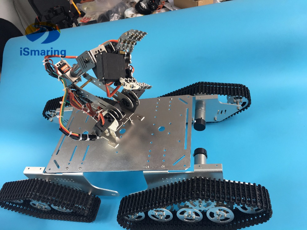 Official iSmaring T900 4WD Metal Robot Tank Chassis + Robotic Arm/Manipulator Clamp with Claw/Gripper