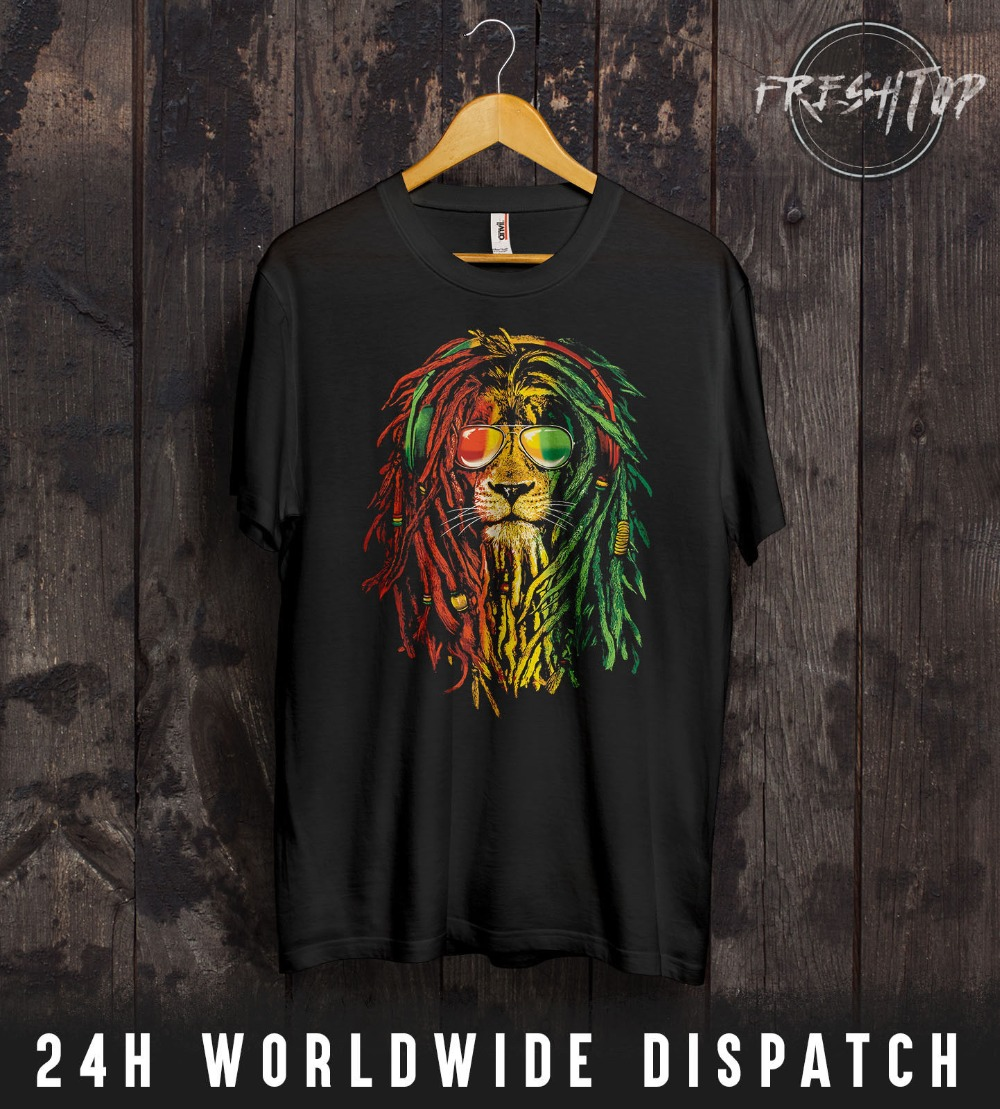 Rasta Reggae Lion T Shirt Marijuana Rastafarianism Bob Marley One Love Jamaica2019 New Fashion Design Men Brand In Fashion
