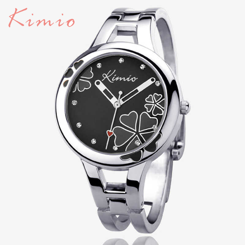 Kimio Brand Women's Bracelet Watch Stainless Steel Clover Crystal Ladies Dress Watches Black Quartz-watch Relogio Feminino julius quartz watch ladies bracelet watches relogio feminino erkek kol saati dress stainless steel alloy silver black blue pink