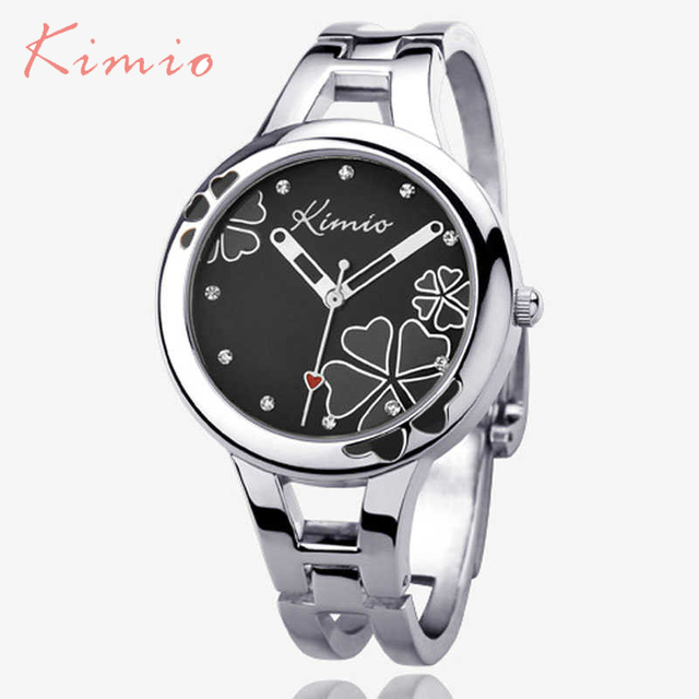 Kimio Brand Women's Bracelet Watch Stainless Steel Clover Crystal Ladies Dress W