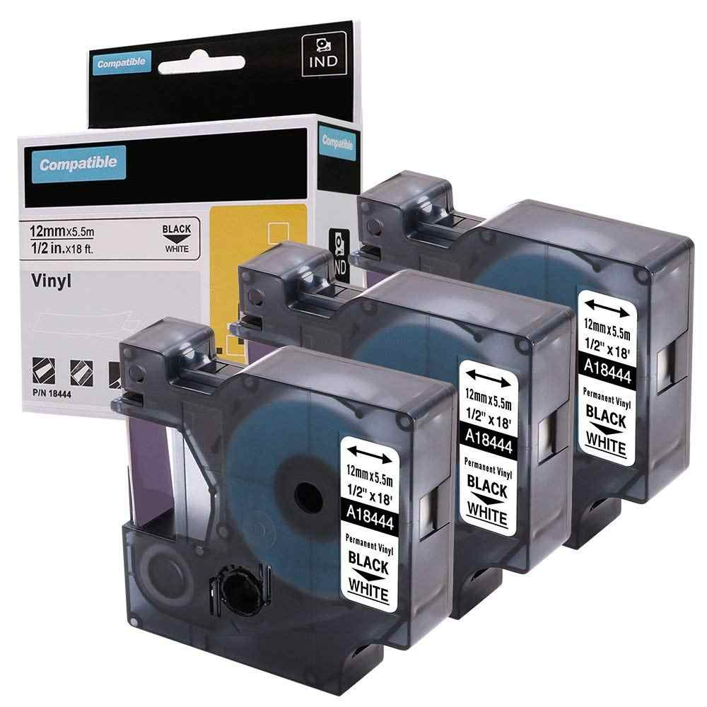 Qty 18444 Compatible DYMO 1//2 inch 18444 Rhino Industrial Permanent Vinyl Labels