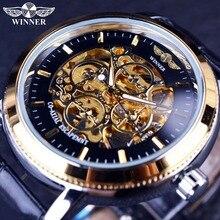 勝者 リングデザイナー透明ケースバックブラックゴールデンスケルトンメンズ腕時計トップブランドの高級機械式腕時計メンズ腕時計 4