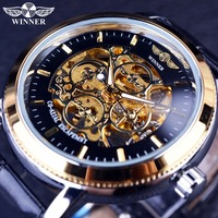 Winner 4 Ring Designer Transparent Case Back Black Golden Skeleton Mens Watches Top Brand Luxury Mechanical