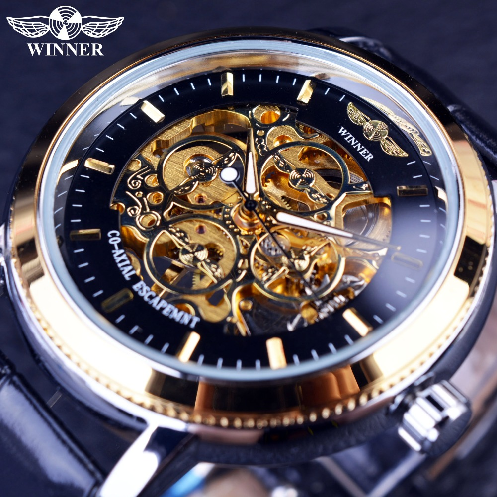 Winner 4 Ring Designer Transparent Case Back Black Golden Skeleton Mens Watches Top Brand Luxury Mechanical Watch Men Wristwatch forsining 3d skeleton twisting design golden movement inside transparent case mens watches top brand luxury automatic watches