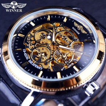 Winner 4 Ring Designer Transparent Case Back Black Golden Skeleton Mens Watches Top Brand Luxury Mechanical Watch Men Wristwatch winner men s watch top brand luxury mechanical watch men transparent skeleton leather sports clock male wristwatch saat erkekler