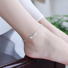 TJP New Arrival Heart Double Layer Women Silver Anklets Jewelry Trendy Frosted Balls 925 Girl Bracelets Lady Party Bijou
