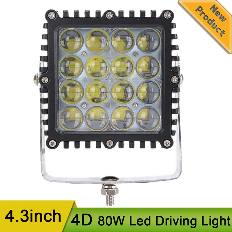 5.3 4D 80W LED Work Light 12V IP67 Driving Lamp Spot for Off road Motorcycle Driving Offroad Boat Car Tractor Truck 4x4 SUV ATV