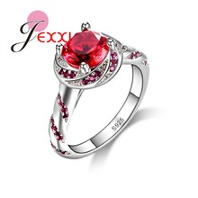 JEXXI Bijoux Finger Accessories for Women 925 Sterling Silver Red CZ Crystal Stone Pendant Ring Bridal Wedding Anillo Bijoux