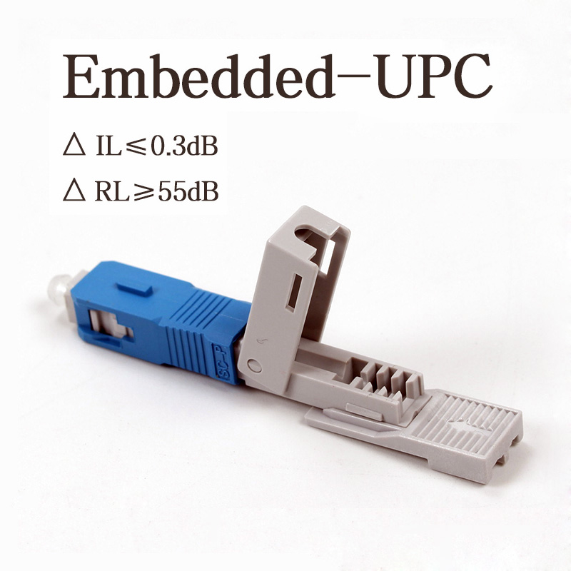 200pcs Embedded-SC UPC Fiber Optic Quick Connector FTTH Single-Mode Fiber Optic Fast Connector Field Assembly Optical Connector