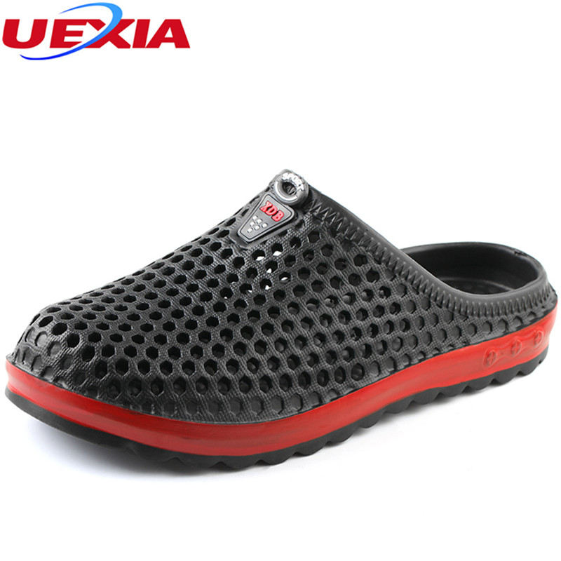 UEXIA New Men's Summer Shoes Slippers Men Flip Flops Breathable Casual Outdoor Slip On Beach Hollow Breathable Ultra Light Beach hot sale natural man hemp flip flops summer breathable fashion beach sandal shoes men s casual canvas slides shoes free shipping