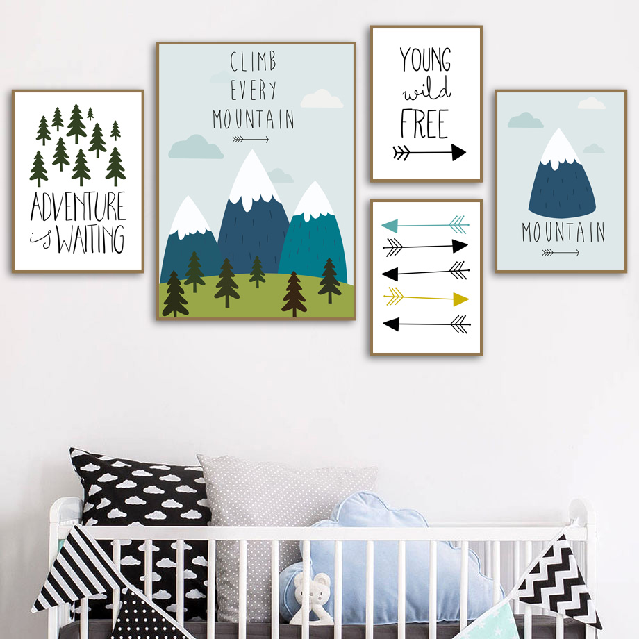 Mountain Tree Forest Arrow Quote Nordic Posters And Prints Wall Art Canvas Painting Decoration Pictures Baby Girl Boy Room Decor in Painting Calligraphy from Home Garden
