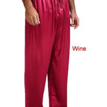 Mens Nightwear Sleepwear Pajamas Satin Silk Long Lounge Pant