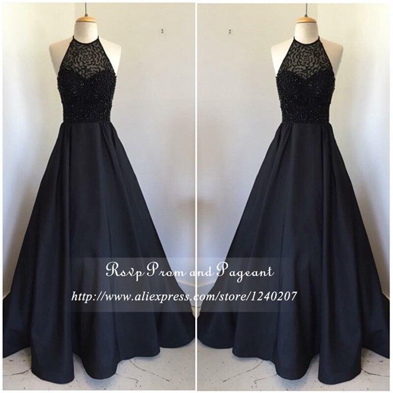 Real Photos Long Black Prom Dresses 2017 Halter Off The Shoulder Top