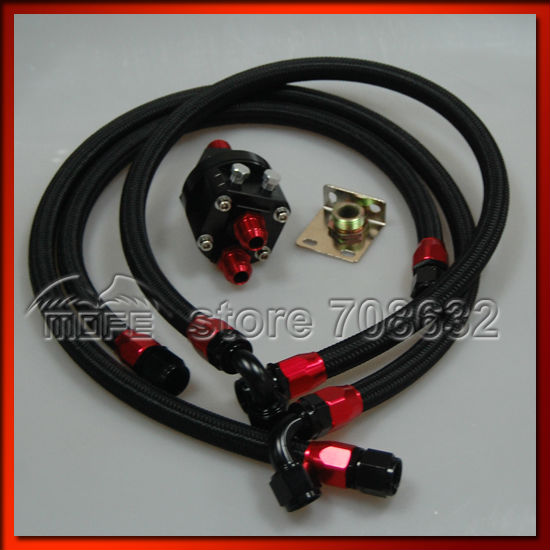 Фото AN10 Oil Cooler Oil Filter Relocation Kit + 3PCS Braided Nylon Stainless Steel Oil Line Hose Black. Купить в РФ