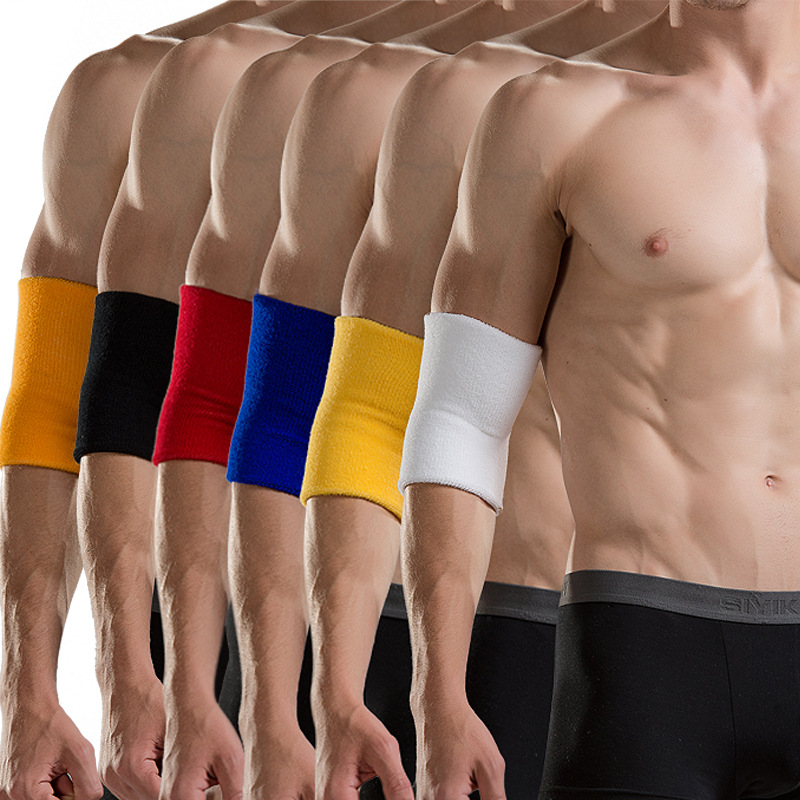 4PSC Pure Colour Absorb Sweat Towel Arm Warmers Fit Closely Breathable Elastic Knitted Fabric Anti-collision Joints Elbow Pads