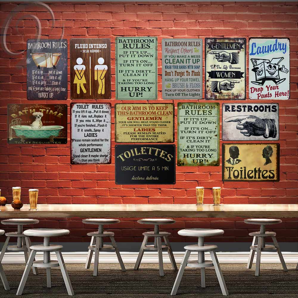 Toilet Rules Metal Sign Bar Pub Cafe Home Wall Decoration Shabby Chic Art 2030 Cm Vintage Decor Tin Plate