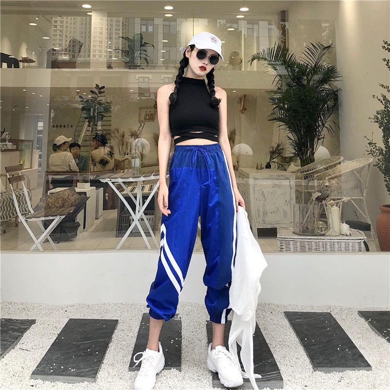 Women's Sets summer new black fashion sexy wild hanging neck vest + high waist loose harem pants two sets of women 3
