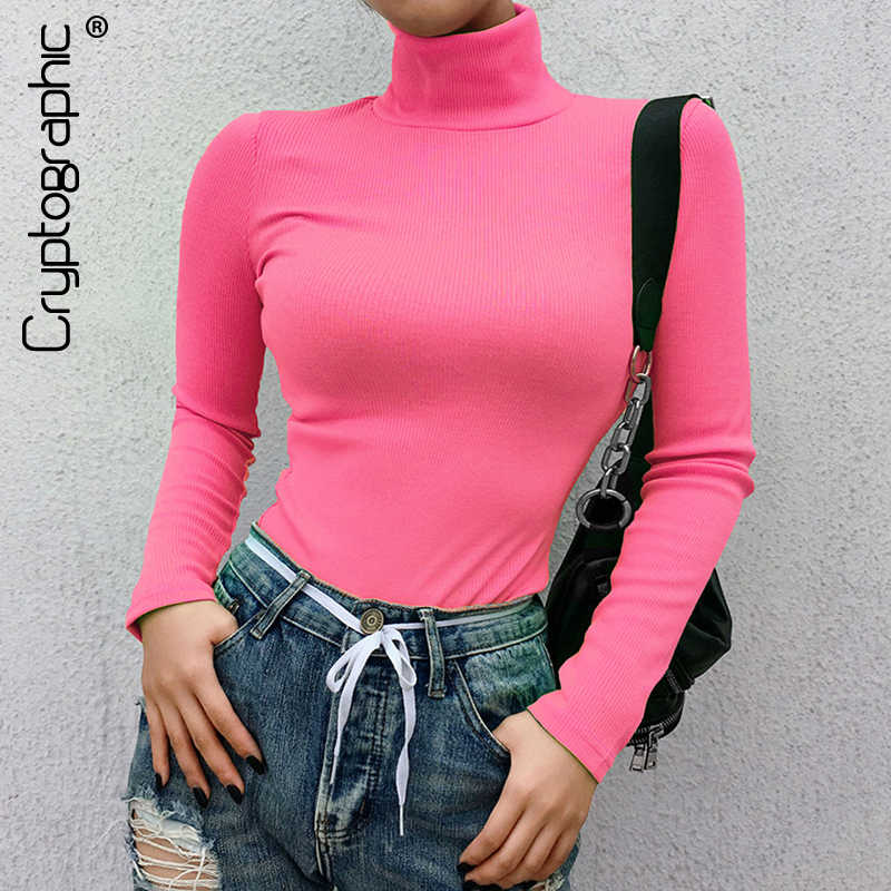 Cryptographic Ribbed long sleeve 2019 new fashion neon pink solid turtleneck casual t-shirts pullover women tops streetwear