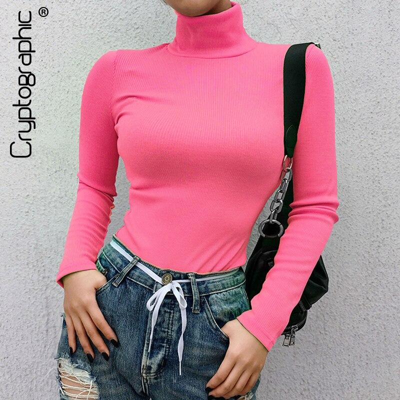 ec73a3253aab € 7.28 40% de DESCUENTO|Cryptographic acanalado manga larga 2019 nueva moda  neón Rosa sólido cuello alto casual camisetas pullover mujeres tops ...
