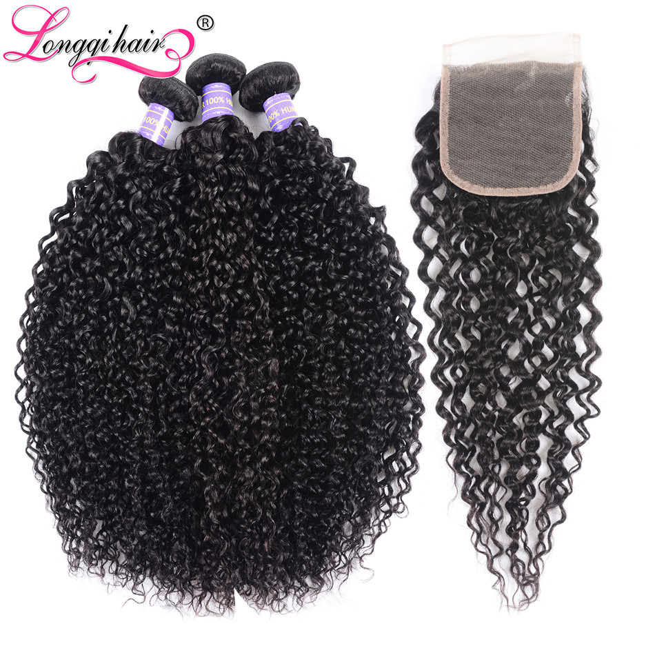 Longqi Curly Hair Extension Brazilian Hair Curly Bundles With Closure 4x4 Free Part Natural Black 100
