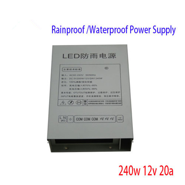 best price 12V 20A Rainproof switch mode power supply 240W SMPS, Power adapter