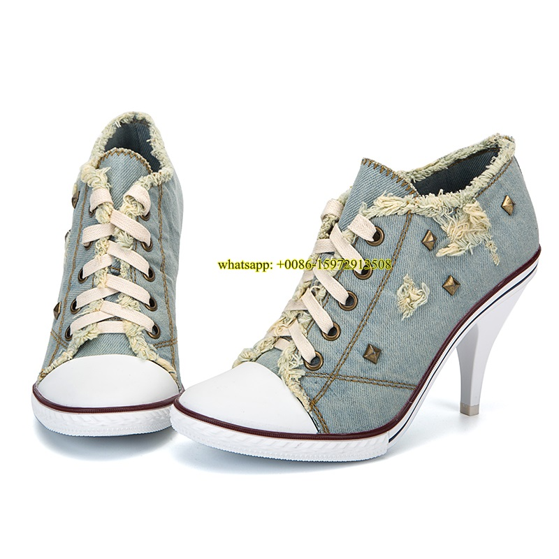 ФОТО women unique design denim high heel shoes white toe patchwork lace up pumps retro style cut-outs shoes studded dress pumps