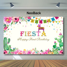 NeoBack Mexican Fiesta Backdrop Happy First Birthday Photography Backdrops Cactus Flag flower 1st Photo Background