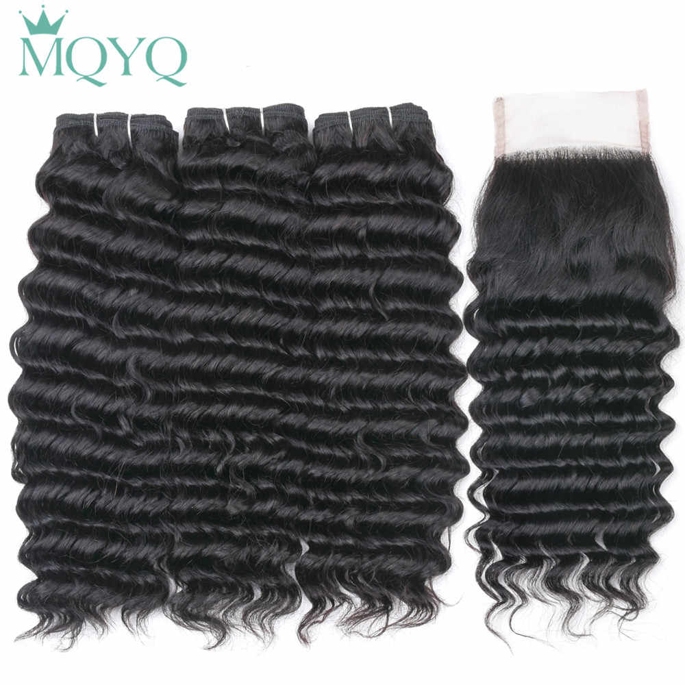 Brazilian Hair Weave Bundles With Closure 3/4 Bundle With Lace Closure Remy Human Hair Closure Deep Wave Bundles With Closure