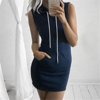 Plus Size 3 Colors Vestidos Women Hooded Dress 2016 Summer New Arrival Ladies Sexy Bodycon Night