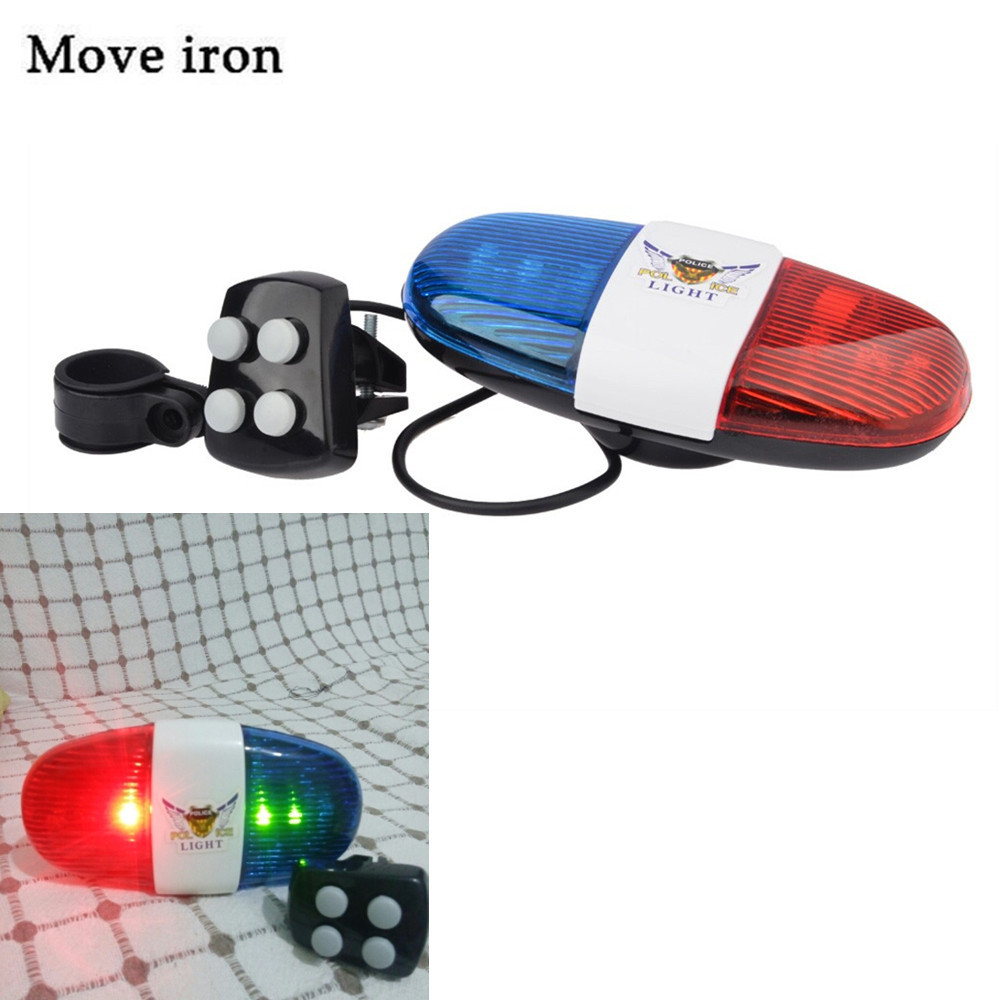 Bicycle Bell 6LED 4Tone Bicycle Horn Bike Call Police Car LED Bike Light Electronic Siren Kids Accessories for Bike Scooter