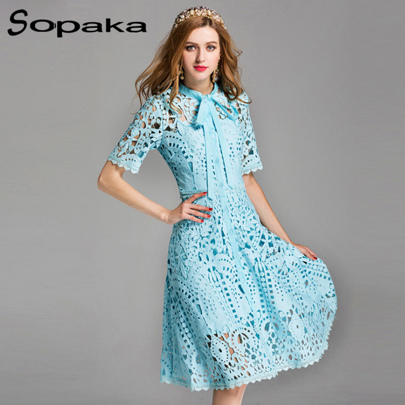 2019 Spring Short Sleeve Lace Dress Size XXL Fashion High Quality Hollow Out Bow Light Blue Runway Designer Midi Women Dresses
