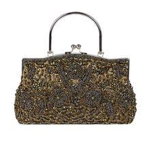 все цены на Premium New Women Vintage Beaded Sequin Design Flower Evening Purse Large Clutch Top Handle Bag онлайн