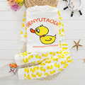 Spring Autumn Girls Duck Cartoon Pattern Clothing Set T Shirt + Long Pants Suit Lovely Set Cute Style Clothes Children Baby Wear